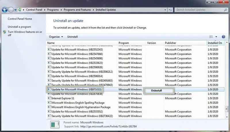 Uninstall update KB971033 on Windows